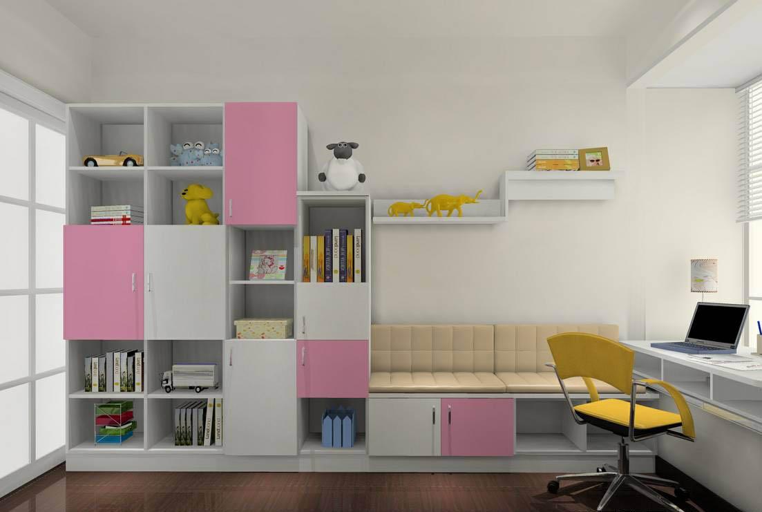 所以在这款儿童房书柜衣柜的设计中,我们也是用粉色来作为基调,与干净