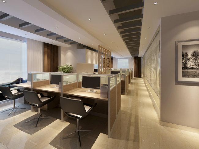 屬于典型的開放式辦公空間,辦公室裝修配置一律制式化,個人性極低
